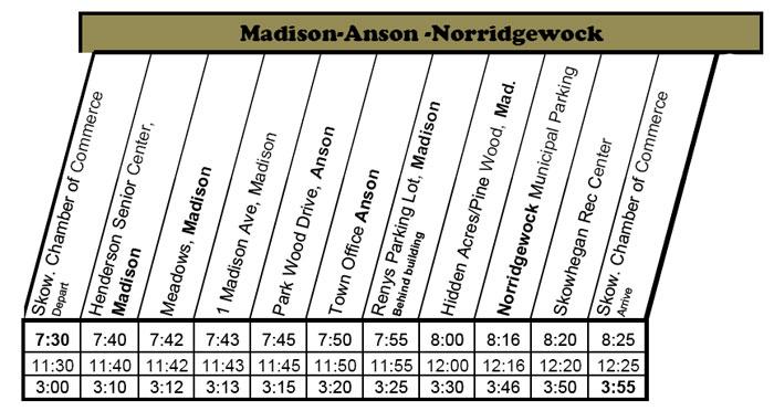 Madison/Anson/Norridgewock Bus Schedule