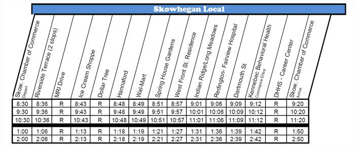 Skowhegan Bus Schedule